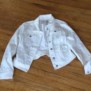 Anthropologie Pilcro letterpress white jeans jacke